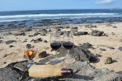 Celebração com dois vidros do vinho tinto na praia tropical agradável Imagens de Stock Royalty Free