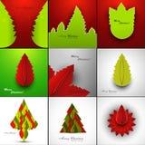A celebração da coleção da árvore do Feliz Natal presen Foto de Stock