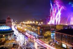 Celebração da iluminação da plaza de Kansas City Imagem de Stock