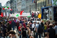Celebração da libertação realizada em Milão o 25 de abril de 2014 Foto de Stock Royalty Free