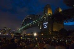 Celebração da ponte de porto de Sydney NYE fotos de stock royalty free