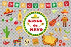 A celebração de Cinco de Mayo em México, ícones ajustou-se, elemento do projeto, estilo liso Objetos da coleção para a parada de
