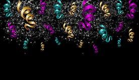 Celebração de Dia das Bruxas com fitas e confetes. ilustração stock