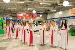 Celebração de Lucia na Suécia Fotografia de Stock Royalty Free