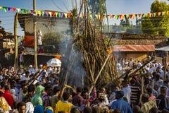 Celebração de Meskel, Lalibela, Etiópia fotos de stock royalty free