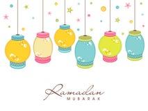 Celebração de Ramadan Kareem com a lanterna de suspensão colorida ilustração do vetor