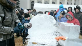 Celebração de Shrovetide (Maslenitsa) em Kiev, Ucrânia, vídeos de arquivo
