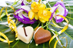 Celebração de um dia especial com chocolates do coração fotos de stock