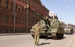 Celebração de Victory Day: Arma automotora Fotografia de Stock Royalty Free