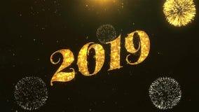 Celebração 2019, desejos do ano novo feliz, cumprimentando o texto no fogo de artifício dourado ilustração royalty free