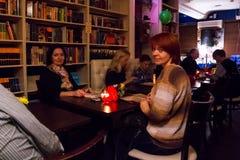 A celebração do aniversário do clube de leitura 12 do café Imagem de Stock