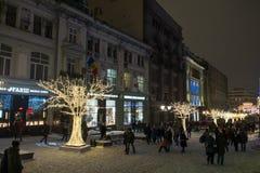 Celebração do ano novo e da festa de Natal em Moscou, Rússia foto de stock