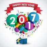 Celebração 2017 do ano novo feliz com caixa de presente Imagem de Stock