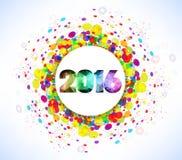 Celebração 2016 do ano novo feliz com fundo colorido do molde dos confetes Fotografia de Stock