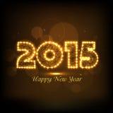 Celebração 2015 do ano novo feliz com texto brilhante Fotos de Stock Royalty Free