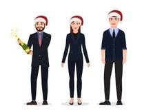 Celebração do ano novo, três povos felizes, caráteres em ternos de negócio ilustração do vetor