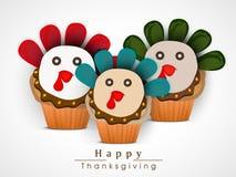 Celebração do dia da ação de graças com queques do peru Imagens de Stock Royalty Free