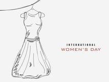 Celebração do dia das mulheres internacionais com um vestido Fotos de Stock Royalty Free