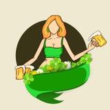 Celebração do dia de St Patrick com menina do duende Imagens de Stock