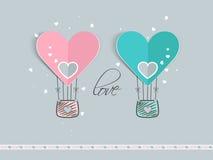 Celebração do dia de Valentim com o balão de ar quente Fotos de Stock Royalty Free