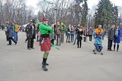 Celebração do dia do ` s de St Patrick em Moscou Foto de Stock Royalty Free