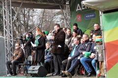 Celebração do dia do ` s de St Patrick em Moscou Cerimónia de inauguração Imagem de Stock