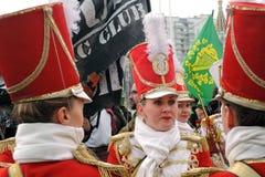 Celebração do dia do ` s de St Patrick em Moscou Faixa dos bateristas das mulheres Fotografia de Stock Royalty Free