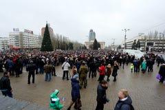 Celebração do dia internacional da solidariedade em Donetsk sobre Fotografia de Stock Royalty Free