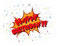 Celebração do feliz aniversario no estilo da banda desenhada ilustração stock