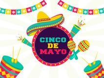 Celebração do festival de Cinco De Mayo com elementos do partido no fundo branco retro do pop art ilustração royalty free