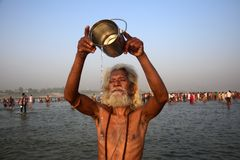 Celebração do festival do dussehra de Ganga em Allahabad Fotos de Stock Royalty Free