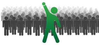 A celebração do líder levanta o braço para os povos 2 da equipe ilustração stock