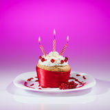 Celebração do queque do corinto vermelho Imagem de Stock Royalty Free
