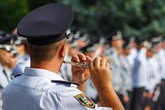 Celebração do terceiro aniversário da polícia nacional de U Foto de Stock