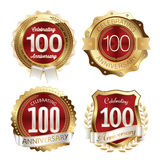 Celebração dos anos dos crachás do aniversário 100th Foto de Stock Royalty Free