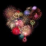Celebração dos fogos-de-artifício do coração Foto de Stock Royalty Free