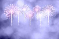Celebração dos fogos-de-artifício e o fundo crepuscular do céu com bokeh Fotos de Stock
