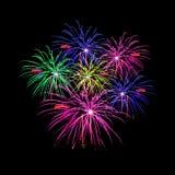 Celebração dos fogos-de-artifício e o fundo da meia-noite do céu Imagem de Stock Royalty Free