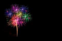 Celebração dos fogos-de-artifício e o fundo da meia-noite do céu Imagens de Stock