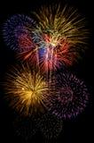 Celebração dos fogos-de-artifício e o fundo do céu noturno Fotografia de Stock