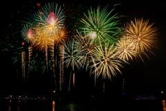 Celebração dos fogos-de-artifício na noite no espaço do ano novo e da cópia - Abs Imagens de Stock
