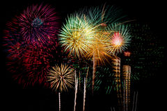 Celebração dos fogos-de-artifício na noite no espaço do ano novo e da cópia - Abs Fotos de Stock Royalty Free