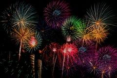 Celebração dos fogos-de-artifício na noite no espaço do ano novo e da cópia - Abs Imagem de Stock