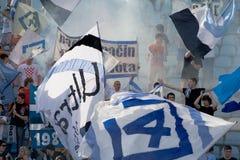 Celebração dos ventiladores de futebol Foto de Stock Royalty Free
