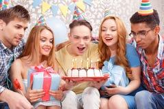Celebração feliz de um aniversário fotos de stock royalty free