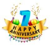 7a celebração feliz do aniversário Imagem de Stock
