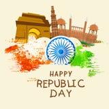 Celebração indiana do dia da república com monumentos famosos Fotos de Stock