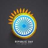 Celebração indiana do dia da república com roda do ashoka Foto de Stock
