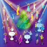 A celebração isométrica do Natal, a dança 3d, a felicidade de um homem e uma mulher estão tendo a árvore de Natal festiva do dive ilustração stock