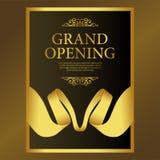 Celebração luxuosa especial do partido da grande inauguração com fita do ouro imagem de stock
